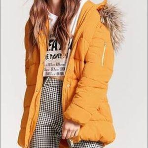 Yellow Parka Puffer Coat
